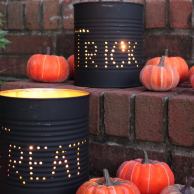 DIY Halloween Tin Can Luminaries